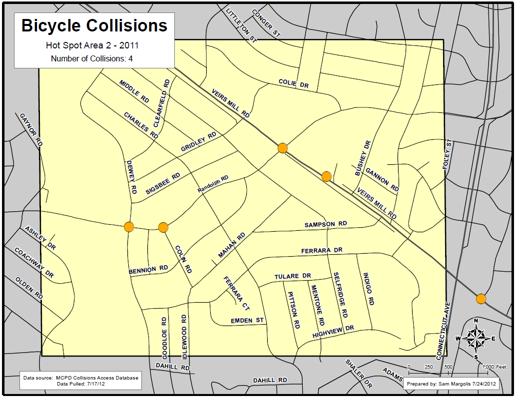 High Incident Area #2: Wheaton-Glenmont Language in Reports # % Crosswalk 1 25% Sidewalk 1 25% Intersection 1 25% Yield 0 0% Driveway 0 0% Parking Lot 0 0% Turn 2 50% Right 2 50% Left 0 0% Turn +