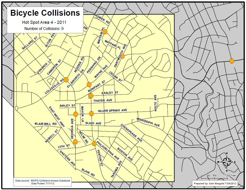 High Incident Area #4: Silver Spring Language in Reports # % Crosswalk 1 11% Sidewalk 5 56% Intersection 1 11% Yield 0 0% Driveway 2 22% Parking Lot 3 33% Turn 7 78% Right 3 33% Left 2 22% Turn +