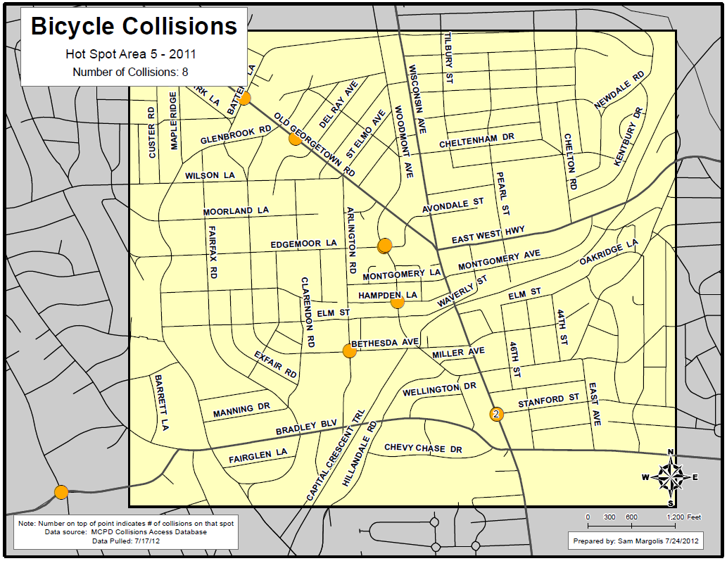 High Incident Area #5: Bethesda Language in Reports # % Crosswalk 5 63% Sidewalk 2 25% Intersection 1 13% Yield 2 25% Driveway 1 13% Parking Lot 0 0% Turn 6 75% Right 4 50% Left 3 38% Turn + Left or