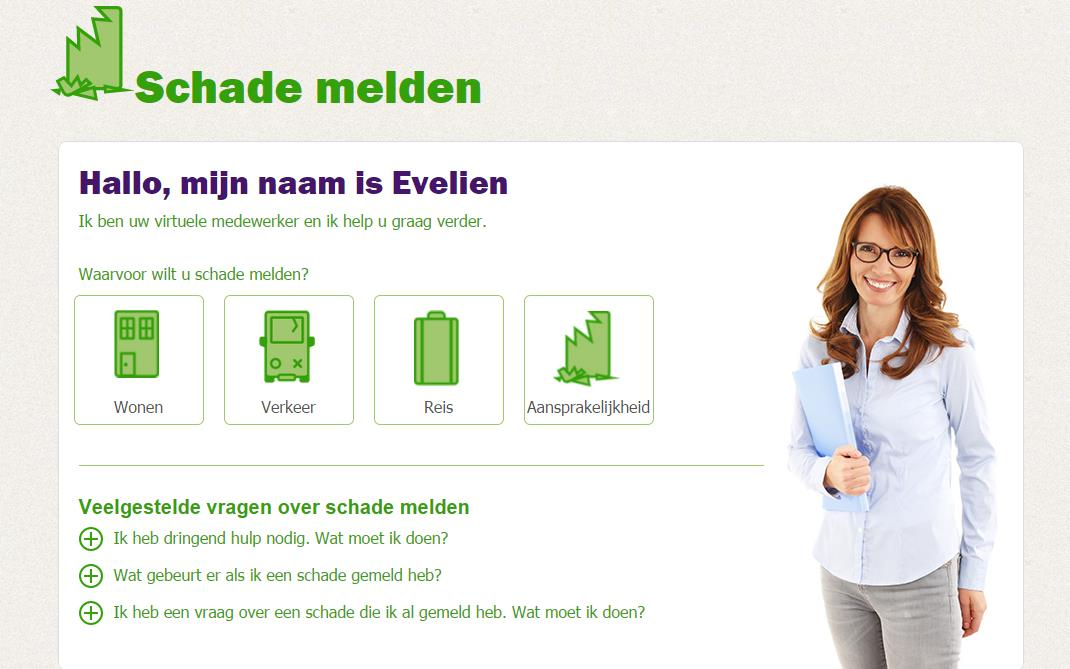 Digitize customer journey Example: Evelien helps customers report damage online, and automatically formats the report Evelien helps customers report damage Evelien reports all damage Customers can
