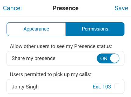 Mobile App Guide Presence If the user does have a Presence-enabled desktop IP phone, its Presence status can be displayed as shown on the right.
