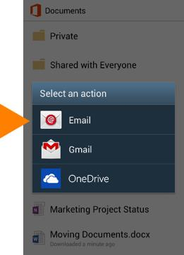Use the Office Mobile app Get documents on your Android phone The best way to get your Office 365 documents onto your Android phone is to save them online, in places like OneDrive for Business or