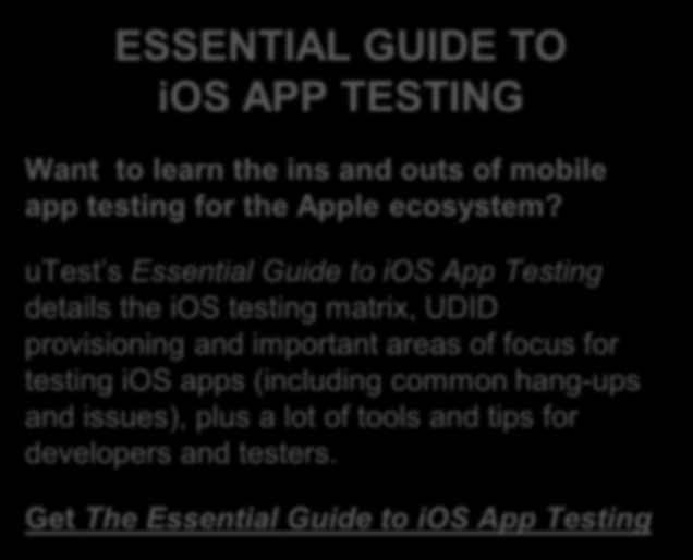 Tips and Tricks: ios Even though the ios operating system doesn t present as large of a matrix as Android doesn t mean testing ios apps is easy.