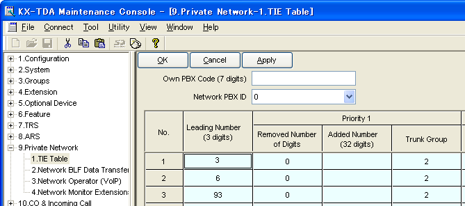 B2 Programming for the Extension Number Method Step 8 Assign the routing information to route calls to the remote PBX: In the Leading Number box, type 3 (for the Chicago office extensions), 6 (for