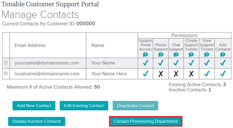 Under Main Menu, select Add Contacts. Click Contact Provisioning Department.