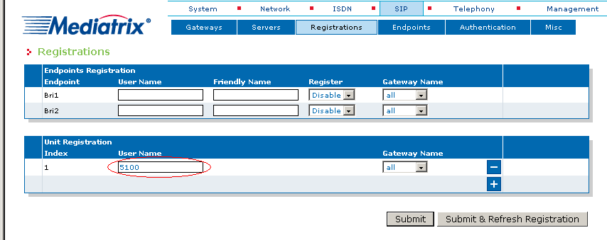 In this window, you can enter the extension numbers from the PBX to be registered in the SIP server. 6. Click the button at the bottom right of the Unit Registration,section.