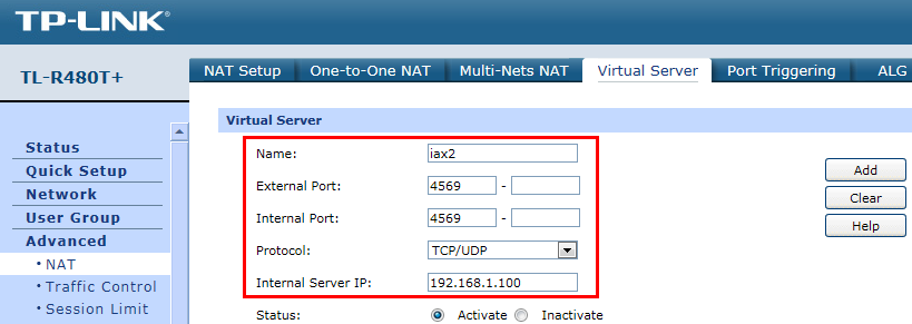 Forward ports 10001-20000 for real time audio stream transmission. To test if port forwarding works, you can register a remote extension with the public IP address of IP PBX A.