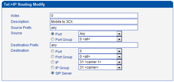 5) Routing Configuration Modify default IP->Tel Routing Source Prefix: all the caller number must match the source prefix.