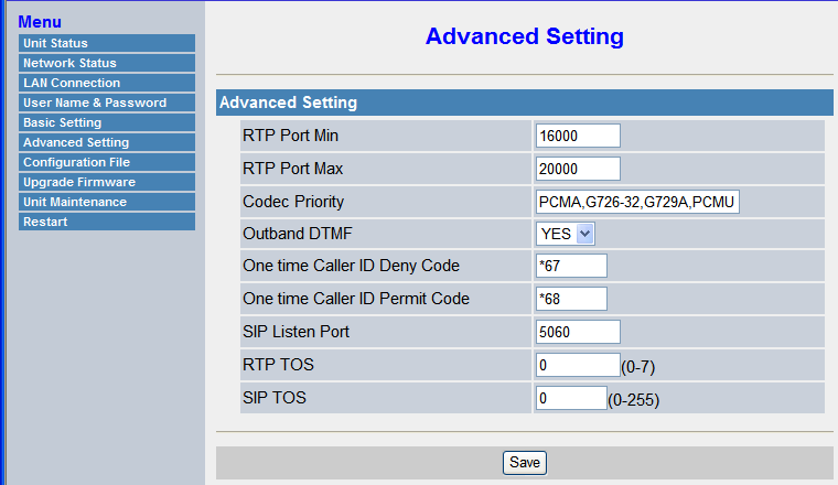 4.6.1 Registering IP Telephones Advanced Setting Parameter RTP Port Min RTP Port Max Codec Priority Description Specifies the minimum port number for RTP transmission and reception (even number only).