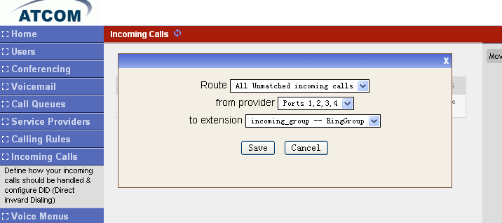 Make an incoming pstn call to port 1 and you can see 6000 extension will ring. Use the eyebeam to answer the call. Make another incoming call to port 2 and you can see the line2 of 6000 is ringing.