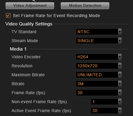 Event Recording with Frame Rate Adjustment This mode keeps recording all the way without losing any single moment; lower frame rate can be set for non-event recording, which consumes only a little