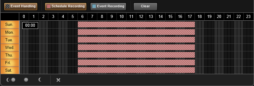 + : Continuous recording with event handling + : Event recording with event handling 2. Click and drag over the Time Track to set time period.