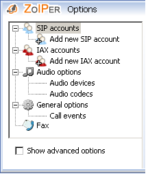 11. Options Accessing the options Options menu You can access the Options Menu of ZOIPER in three ways: right click on the ZOIPER icon in your system tray or on the phone itself and the following