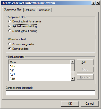 4.11.1 Suspicious files The Suspicious files tab allows you to configure the manner in which threats are submitted to ESET s Threat Lab for analysis.