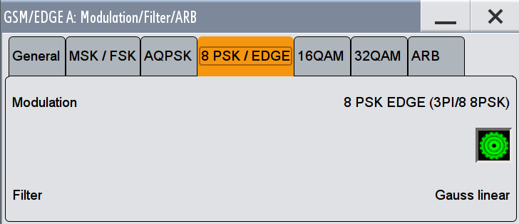 GSM/EDGE User Interface Modulation/Filter Filter Displays the filter type for AQPSK modulation. The filter is permanently set to GAUSS linearized. [: SOURce<hw>]: BB: GSM: FILTer: AQPSK: TYPE?