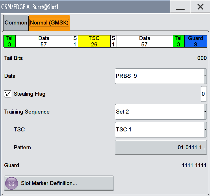 "GSM/EDGE User Interface Burst Editor The available settings depends on the selected Burst Type. Extended Tail Bits Burst Fields Displays the data content in the ""ETail"" data field of the Access burst."
