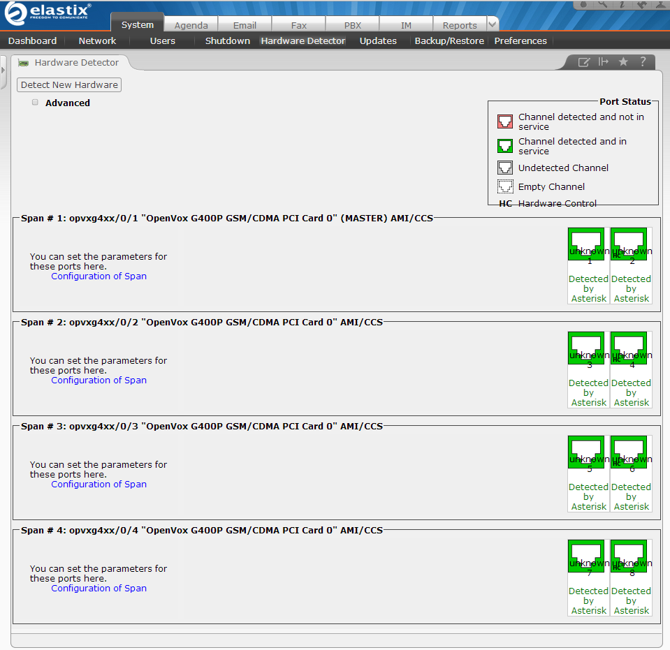 Click System Hardware Detector Detect New Hardware to make G400P recognized by Elastix Web panel.