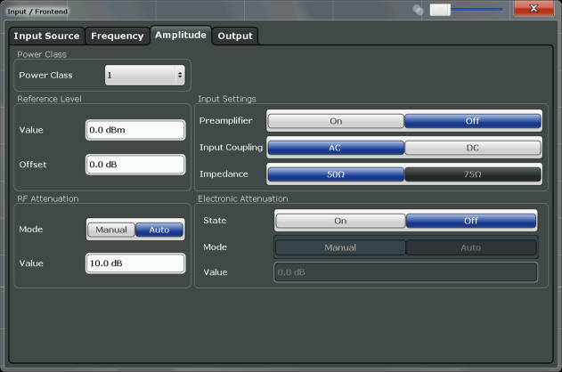 "Configuration Input and Frontend Settings To configure the amplitude settings Amplitude settings can be configured via the AMPT key or in the ""Amplitude"" dialog box."