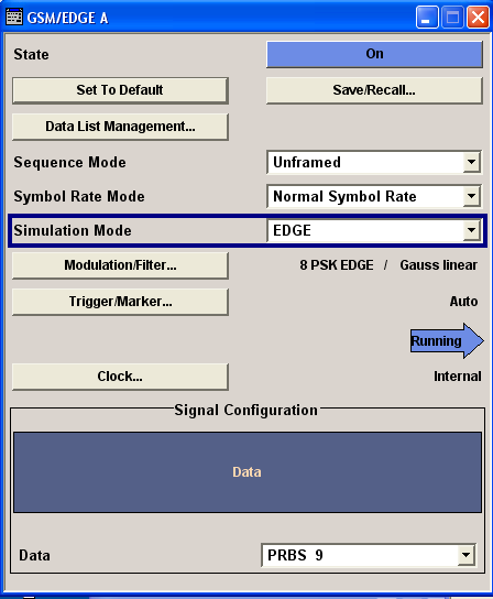 "GSM/EDGE User Interface Mode Unframed Provided are the following settings: Simulation Mode Selects the modulation for the signal for the ""Unframed"" ""Sequence Mode"" The signal is generated without"