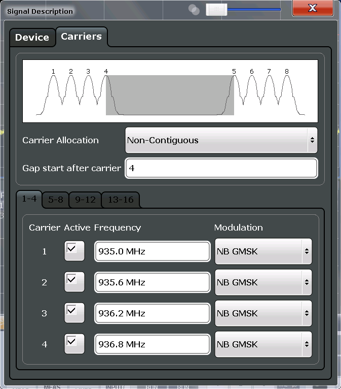 "Configuration Multicarrier Wideband Noise (MCWN) Measurements 6.4.3.2 Carrier Settings The ""Carrier"" settings define whether the expected signal contains a single or multiple carriers."