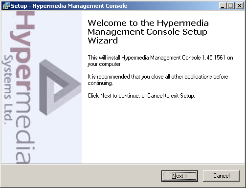 Installation To install the Hypermedia Management Console program: 1.