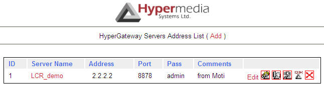 Setting the IP Address To change or set the IP address: 1. From the Hypermedia program group, select Server List. The Hyper- Gateway Servers Address List screen opens in the default browser. 2.