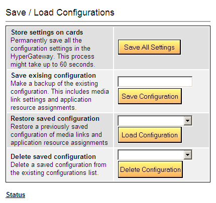 Save/Load Configuration Use Save/Load Configuration branch to download and upload system settings via a configuration file.