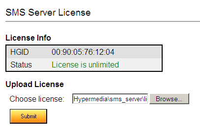 License Use the License screen to upload and apply the SMS Server s license. To license the SMS server: 1. Ensure that you have an authorized license.