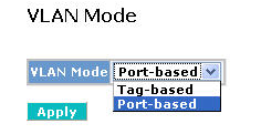 VLAN mode: Port-based: Port-based VLAN is defined by port. Any packet coming in or outgoing from any one port of a port-based VLAN will be accepted. No filtering criterion applies in port-based VLAN.