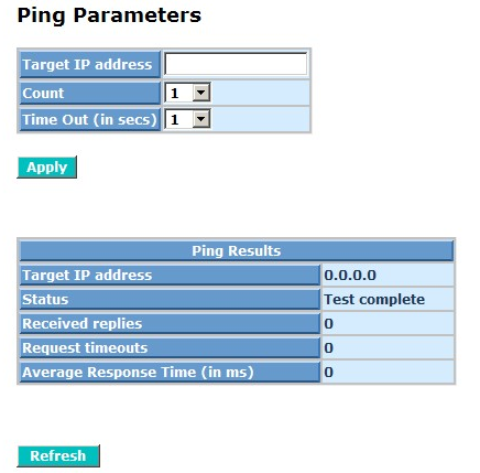 Ping Parameters: Target IP address: Set up a Target IP address to ping.