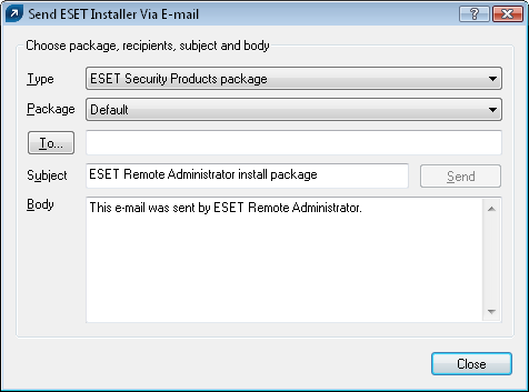 Figure 10 Export Installer to Folder / Logon Script dialog window Attaching the agent (einstaller.exe) to email: Click Email.