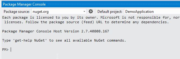 NuGet in Visual Studio Package Manager Console PowerShell console in