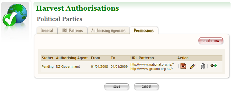 Figure 7. Permissions tab 10 To add a new permission, click create new.