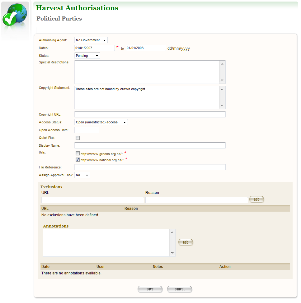 Figure 8. Create/Edit Permission 11 Select an agent, enter the dates you want to harvest, tick the URL patterns you want to harvest, enter special restrictions, etc.; and click Save.