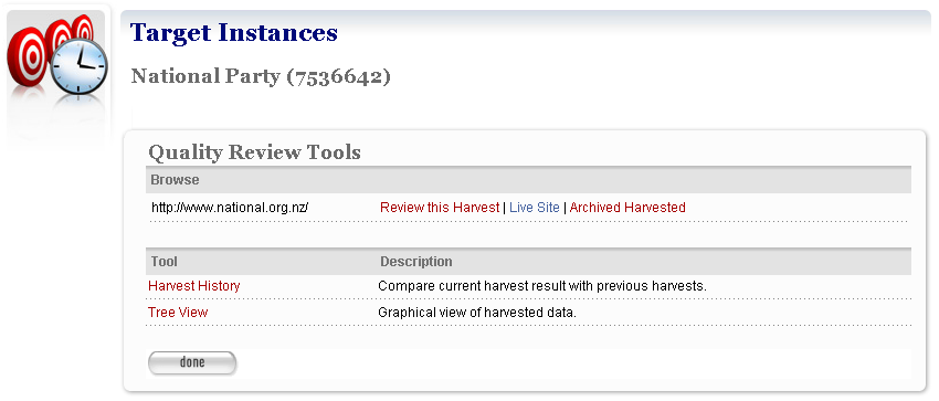 Opening quality review tools To review a harvested Target Instance, open it in edit mode, then select the Harvest Results tab. A list of Target results displays.