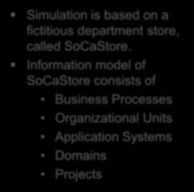 What is SoCaStore? Simulation is based on a fictitious department store, called SoCaStore.