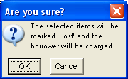 Chapter 10 LOST ITEMS Note: Do not, under any circumstances, accept replacement items purchased by the borrower. Borrowers must pay for lost items; replacing them is not an option.