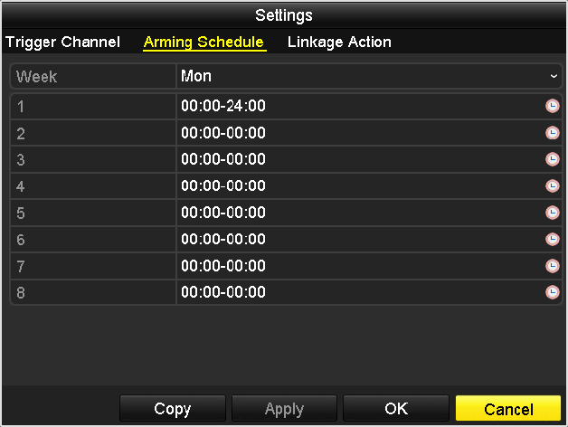 Figure 8. 3 Set Arming Schedule of Motion Detection 5. Click Linkage Action tab to set up alarm response actions of motion alarm (please refer to Chapter 8.6 Setting Alarm Response Actions).