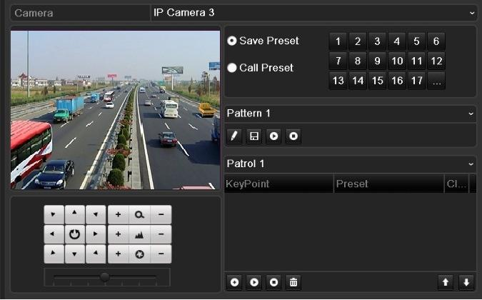 Menu>Camera>PTZ>More Settings 2. Choose pattern number in the option box. Figure 4. 9 PTZ- Pattern 3.