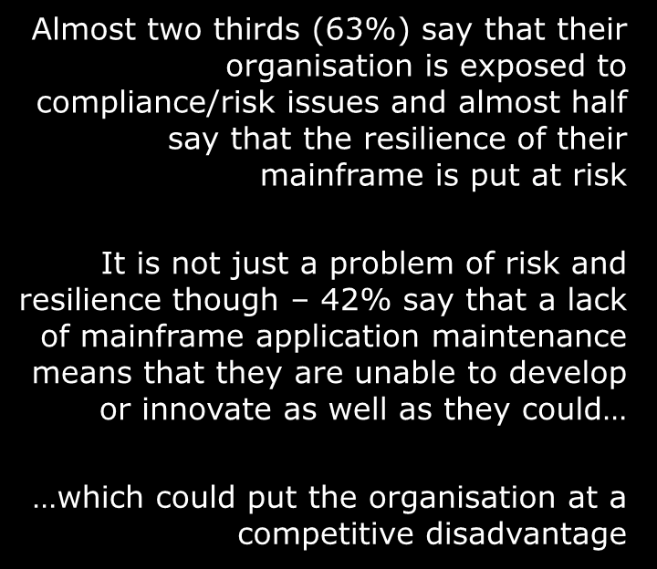 Not updating mainframe apps has significant ramifications Only 10% of those who encounter resistance are always able to eventually justify the cost Our business is exposed to compliance/risk issues