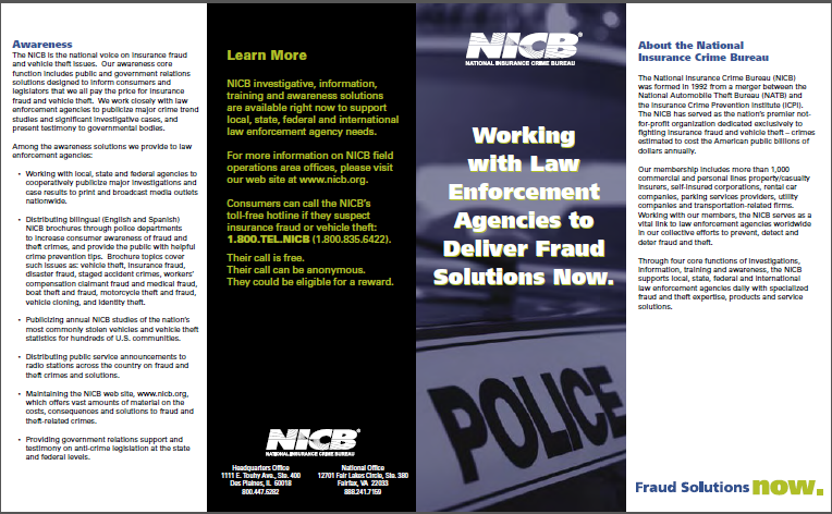 Law Enforcement Brochure Through four core functions of investigations, information, training and awareness, the NICB supports local, state, federal and international law enforcement agencies daily