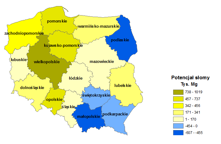 Figure 6. Straw potential in Poland in thousand tons. 33 The original goals of the renewable energy generation (i.e. creation of local added value, renewable energy generation in modern, highly efficient installations) have not been, however, achieved in Poland.