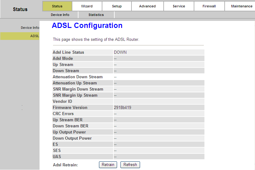 Page 18 of 78 4.1.2. ADSL Choose Status Device Info ADSL menu, and you will be able to view the ADSL configuration.