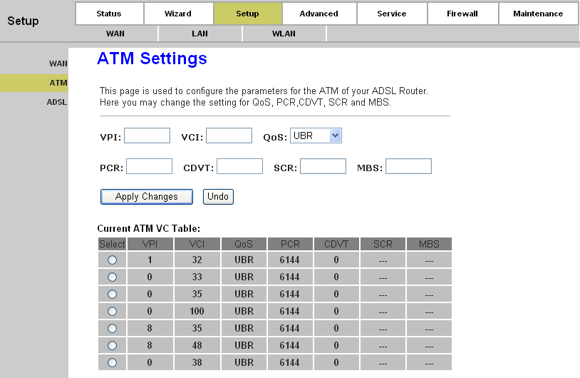 Page 22 of 78 Add: Click this button to add a VC. First fill the parameters above and then click this button, thus your new VC will be added to the Current ATM VC Table.