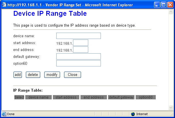 Page 28 of 78 IP Pool Range: Specify the start and end IP address for the DHCP server's IP assignment. The default start and end IP Address are 192.168.1.100 and 192.168.1.200 separately.