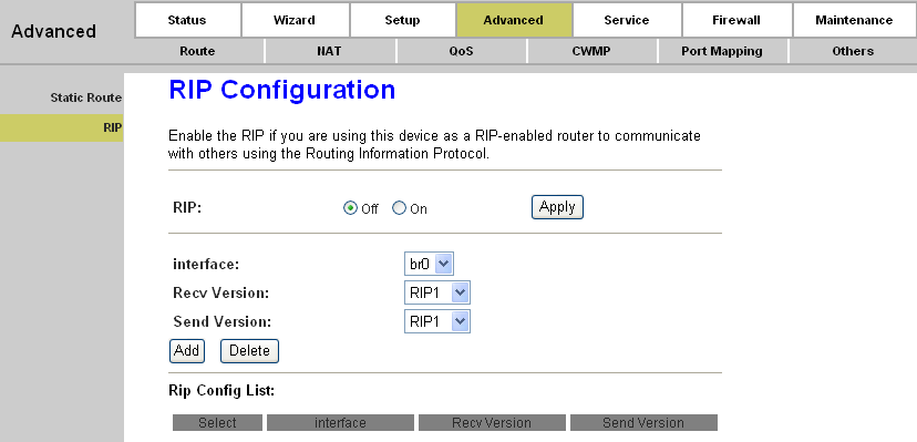 Page 43 of 78 Click the Add Route button to add the new route in the Static Route Table. The Static Route Table shows the current static route entries.