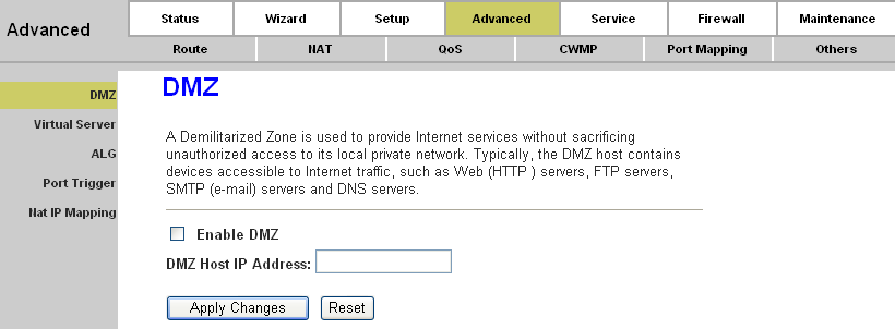 Page 44 of 78 4.3.2. NAT 4.3.2.1. DMZ Choose Advanced NAT DMZ, you can configure the DMZ host in the screen as shown in Figure 4-26.