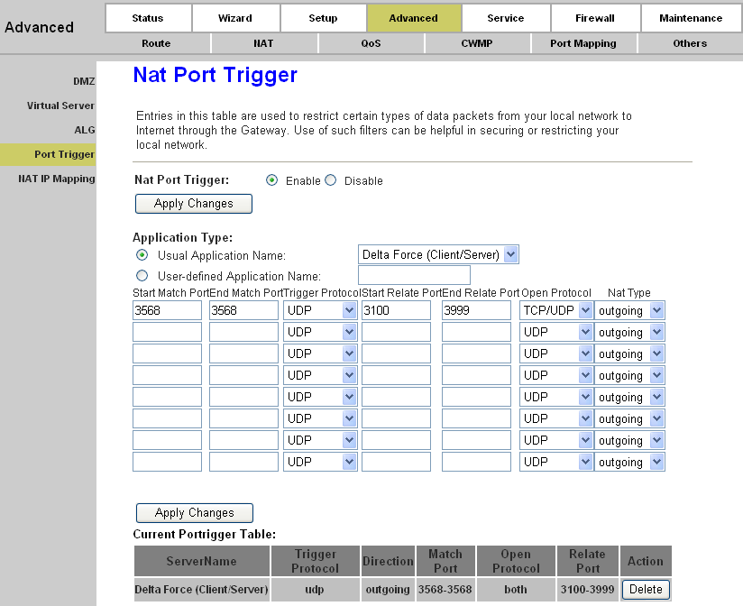 Page 47 of 78 Port trigger is used to restrict certain types of data packets from your local network to Internet.