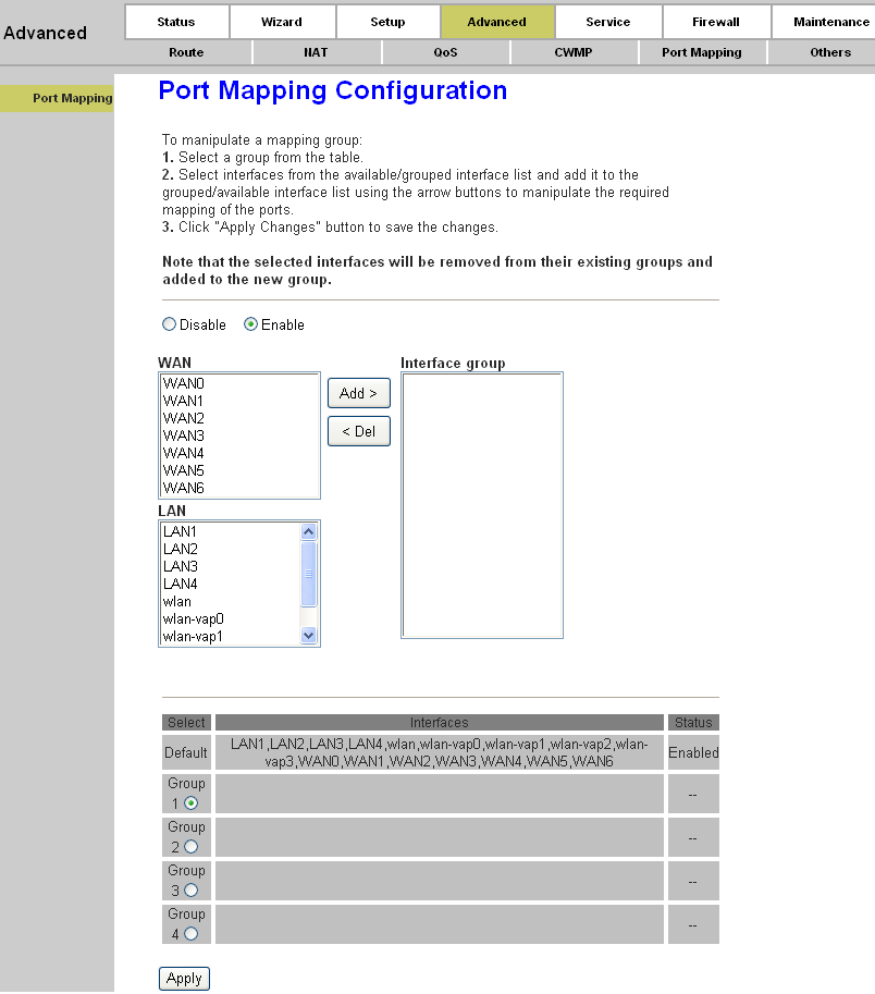 Page 56 of 78 Figure 4-36 You can enable or disable the port mapping function of the device by the select radio button.
