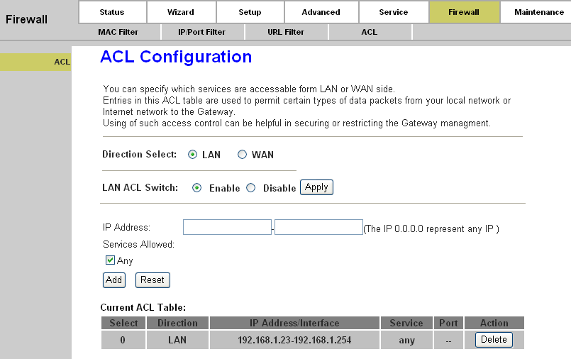 Page 66 of 78 4.5.3. ACL Choose Firewall ACL, you can see the next screen (shown in Figure 4-46).